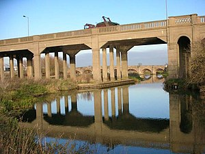 A6 road (England) - Irthlingborough Viaduct built over the Nene in 1936