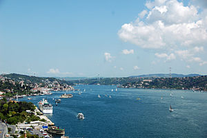 Bosphorus - A view of the Bosphorus strait, with the Fatih Sultan Mehmet Bridge seen in the background.