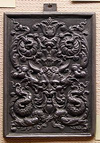 Decorative Panel Showing The Two Separable Elements Of Grotesque Elaborate Acanthus Leaf And Candelabra Type Design Hideous Mask Or Face
