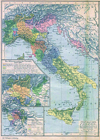 A political map of the Italian Peninsula  circa 1494.
