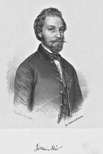 Mór Jókai - Jókai in 1854; lithograph by Miklós Barabás