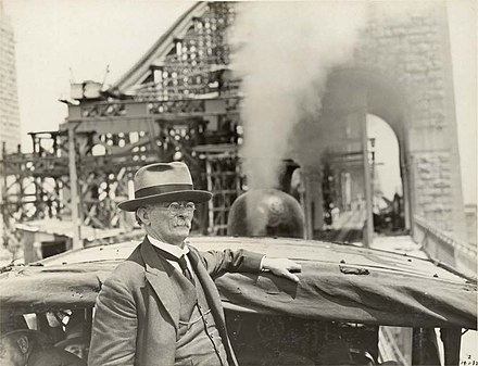 John Bradfield riding the first test train across the bridge on 19 January 1932 JJC Bradfield Sydney Harbour Bridge 1932.jpg