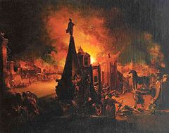 The Burning of Troy (c.1200 BC) oil painting by Johann Georg Trautmann (1759/62)