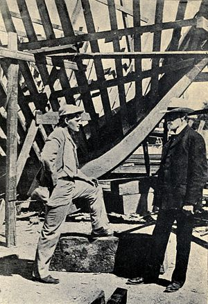 The Cruise of the Snark - Jack London at the building of The Snark in 1906.