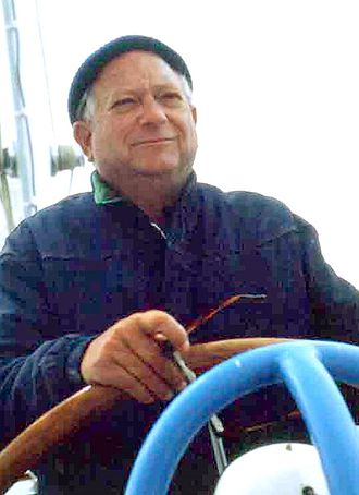 Jack Vance - Jack Vance at the helm of his boat on San Francisco Bay in the early 1980s