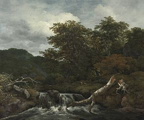 Hilly wooded landscape with a waterfall