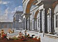 Jacobus Ferdinandus Saey - A picnic in a palace courtyard.JPG