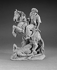 Mounted Oriental with turban, with a slain warrior below