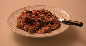 Jambalaya with chicken, sausage, rice, tomatoe...
