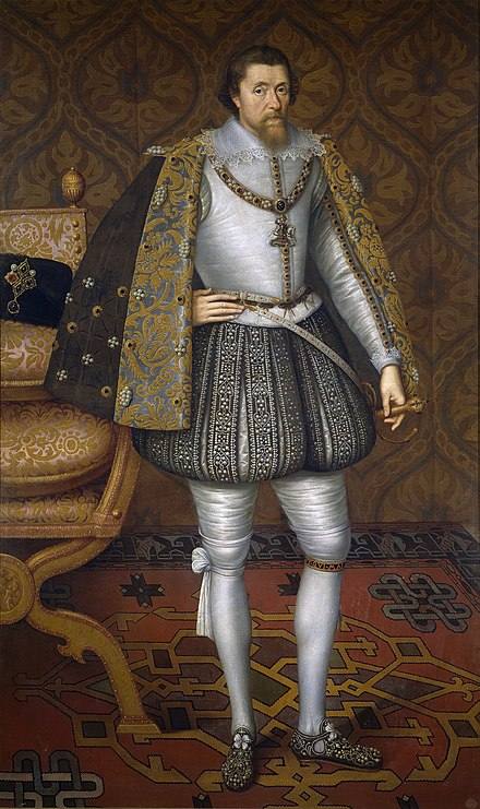 In 1603 James VI and I became the first monarch to rule over England, Scotland, and Ireland together. JamesIEngland.jpg