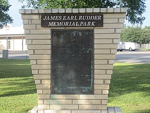 James Earl Rudder - James Earl Rudder Memorial Park in his hometown of Eden, Texas