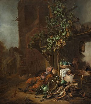 Tobit, asleep under a vine, is blinded