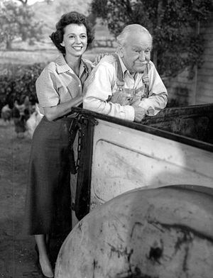 Lassie (1954 TV series) - Original series stars Jan Clayton (as Ellen Miller) and George Cleveland (as Gramps). (1956)
