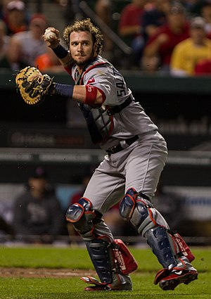Jarrod Saltalamacchia - Saltalamacchia playing for the Boston Red Sox in 2012