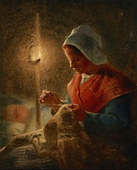 Woman Sewing by Lamplight
