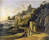 Jean-Victor Bertin - Landscape with a Fortress and a Beggar - WGA02097.jpg