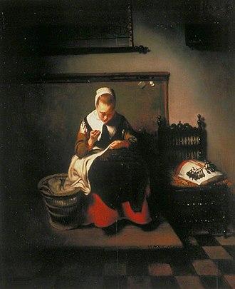 An Old Woman Dozing - Image: Jeune femme à sa couture Nicolas Maes