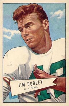 Football card illustration of Dooley wearing a white number 42 football jersey with pads and no helmet