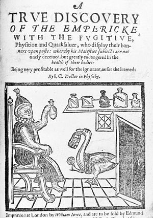 """John Cotta - """"A True Discovery of the Empericke with the Fugitive Physition and Quacksalver, who Display their Banners upon Posts."""" Title page, published 1617"""
