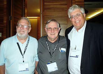"Homebrew Computer Club - Club members John Draper (""Captain Crunch""), Lee Felsenstein, and Roger Melen."