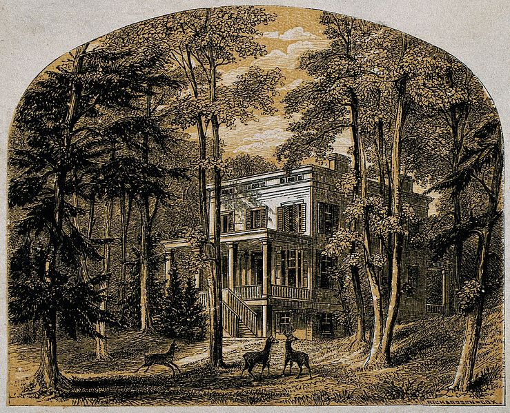 File:John James Audubon; his house. Colour line block by Richards Wellcome V0018684.jpg
