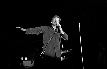 Cash performing in Bremen, West Germany, in September 1972 Johnny-Cash 1972.jpg