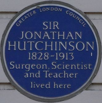 Jonathan Hutchinson - Blue plaque, 15 Cavendish Square, London