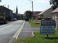 Jonval (Ardennes) city limit sign.JPG