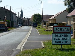 Jonval (Ardennes) city limit sign.JPG