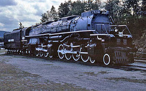 "Photograph of Union Pacific 4012, ""Big Boy"" on display at Steamtown, USA, Bellows Falls, Vermont"