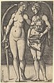Judith standing to right and holding the head of Holofernes in her right hand and a sword in her left hand, her servant standing to right holding an open bag MET DP828523.jpg