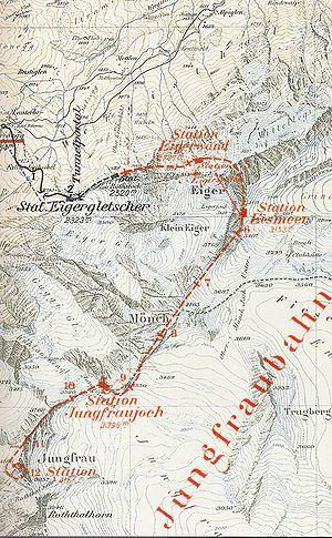 Jungfrau Railway - Map of the Jungfraubahn project in 1903