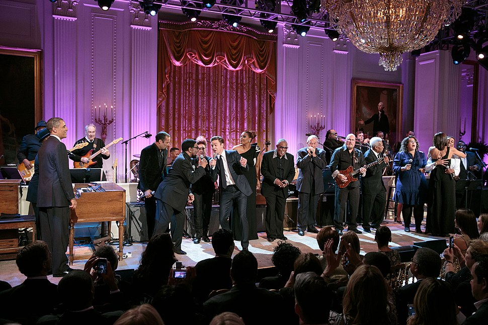 Justin Timberlake and Steve Cropper performing at the White House