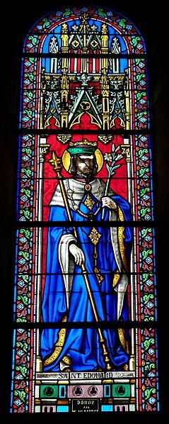 Vitrail de l'église Saint-Martin de Juvigné (53). Saint-Édouard.