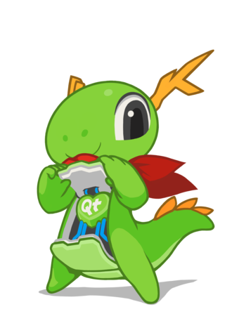 Qt (software) - KDE's mascot Konqi showing his Qt heart