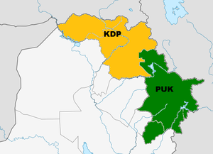 Kurdish nationalism - KDP and PUK controlled areas of Kurdistan after the Iraqi Kurdish Civil War.