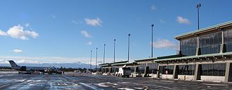 Roberts Field - Terminal and ramp, with central Cascade Range in the distance, Dec 2010