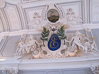 Stucco decoration with Catherine's initials in the great hall of the palace.