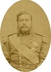 Kalakaua, photograph by Bradley and Rulofson, from Cover of Hawaii Ponoi.jpg