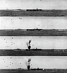 Kamikaze barely misses USS Belleau Wood (CVL-24) on 6 April 1945.jpg