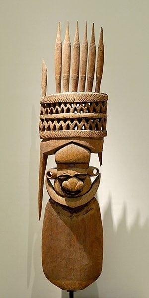 Kanak people - Fragment of a roof finial of a large clan house, sculpture of the Kanak people made of Houp wood, New Caledonia, late 14th century—early 15th century