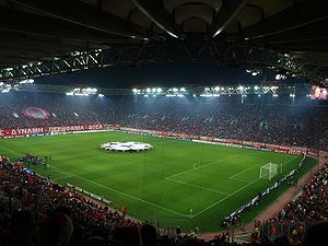 Venues of the 2004 Summer Olympics - Karaiskasis Stadium during an UEFA football match between Olympiacos F.C. and Arsenal F.C. in 2009. For the 2004 Summer Olympics, it hosted several football matches. At the 1896 Summer Olympics, this was where the Neo Phaliron Velodrome was constructed for the track cycling events.