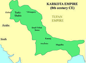 Karkoṭa Empire - Karkota territory at its maximum extent, according to Joseph E. Schwartzberg's A Historical Atlas of South Asia