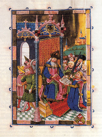 War of the Lüneburg Succession - Emperor Charles IV enfeoffed Albert of Saxe-Wittenberg with the Principality of Lüneburg. 1442 illustration from the Lüneburg Sachsenspiegelhandschrift