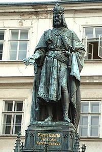Statue of Charles IV near Charles Bridge (1848).