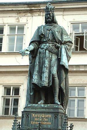 Charles IV, Holy Roman Emperor - Statue of Charles IV near Charles Bridge (1848), Prague, by Ernst Julius Hähnel