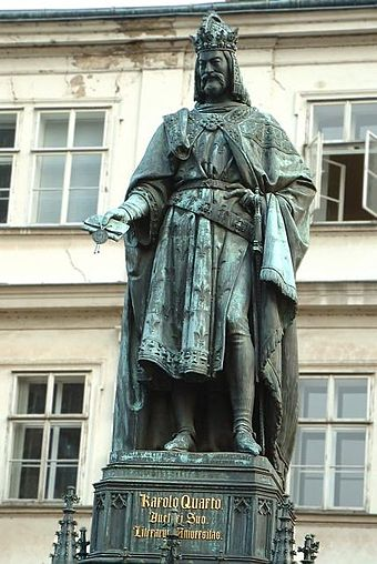 Statue of Charles IV near Charles Bridge (1848), Prague, by Ernst Julius Hahnel Karl IV HRR.jpg