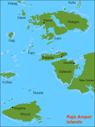 Raja Ampat Islands - Map of the islands