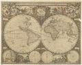 Karta från 1660 med två hemisfärer(halvklot), den ena visande Nord- och Sydamerika - Skoklosters slott - 98006.tif