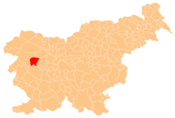 Map showing, in red, Cerkno